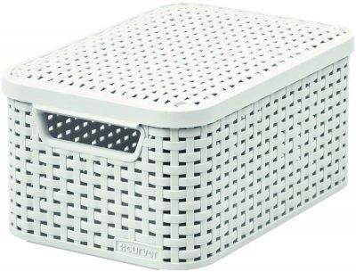 CURVER Úložný box RATTAN Style2 s víkem S - krémový 03617-885