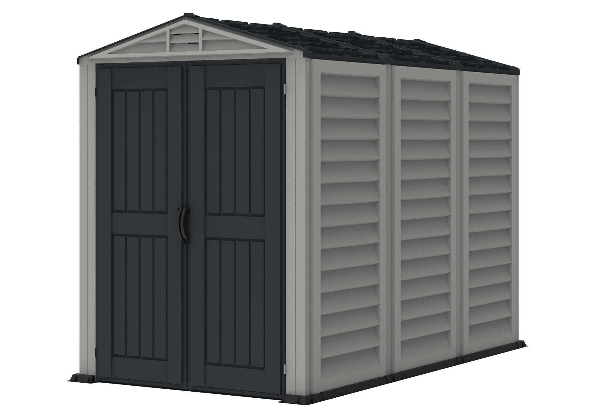 DURAMAX Zahradní plastový domek YardMate Plus 5'x8', 4,1 m² - šedý/antracit + podlahová konstrukce DURAMAX 35825