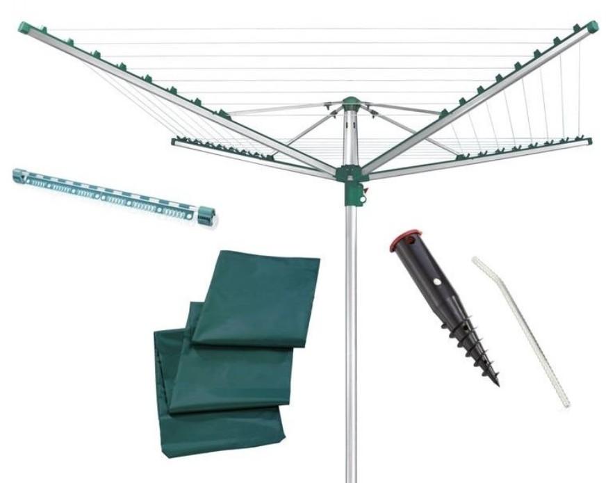 LEIFHEIT Zahradní sušák na prádlo LINOMATIC Easy 400 + Ukotvovací držák + Ochranný obal + EasyClip LEIFHEIT set 85285+85606+632+650