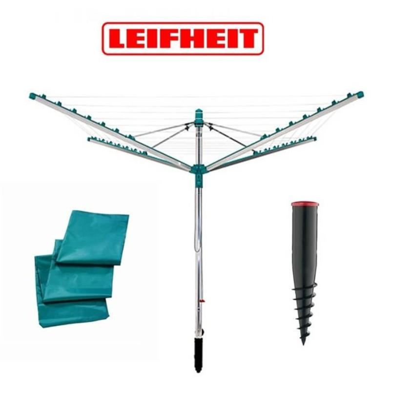 LEIFHEIT SET = Zahradní sušák na prádlo LINOMATIC Easy 400 + Ukotvovací držák + Ochranný obal LEIFHEIT 85285+85606+85632
