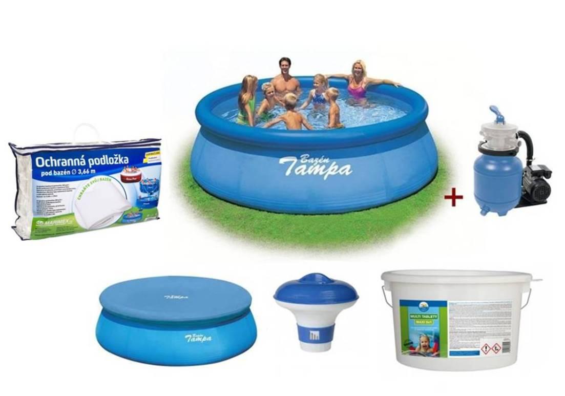 INTEX Tampa bazén 3,66x0,91 m SET - písková filtrace, tablety 5v1, plovák, krycí plachta, podložka
