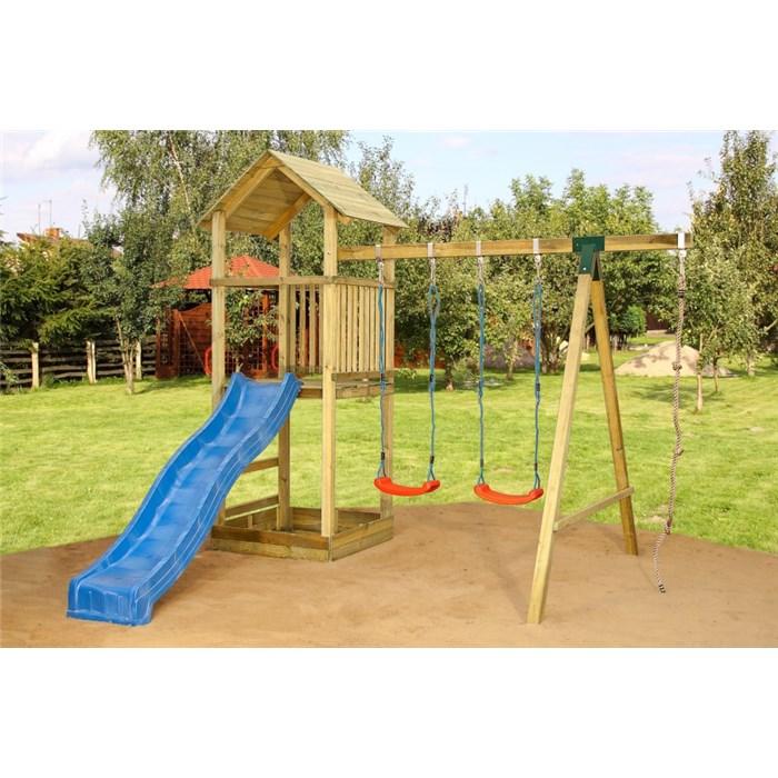 ASKO a. s. Dětská hrací sestava - houpačky, skluzavka, domeček