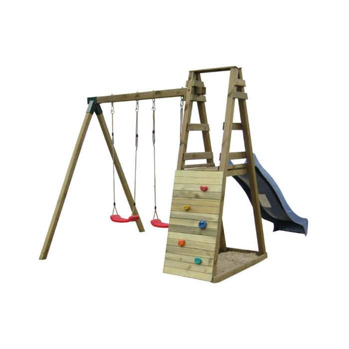 ASKO a. s. Dětské hřiště DOMINIK hrací sestava - houpačky, skluzavka stěna