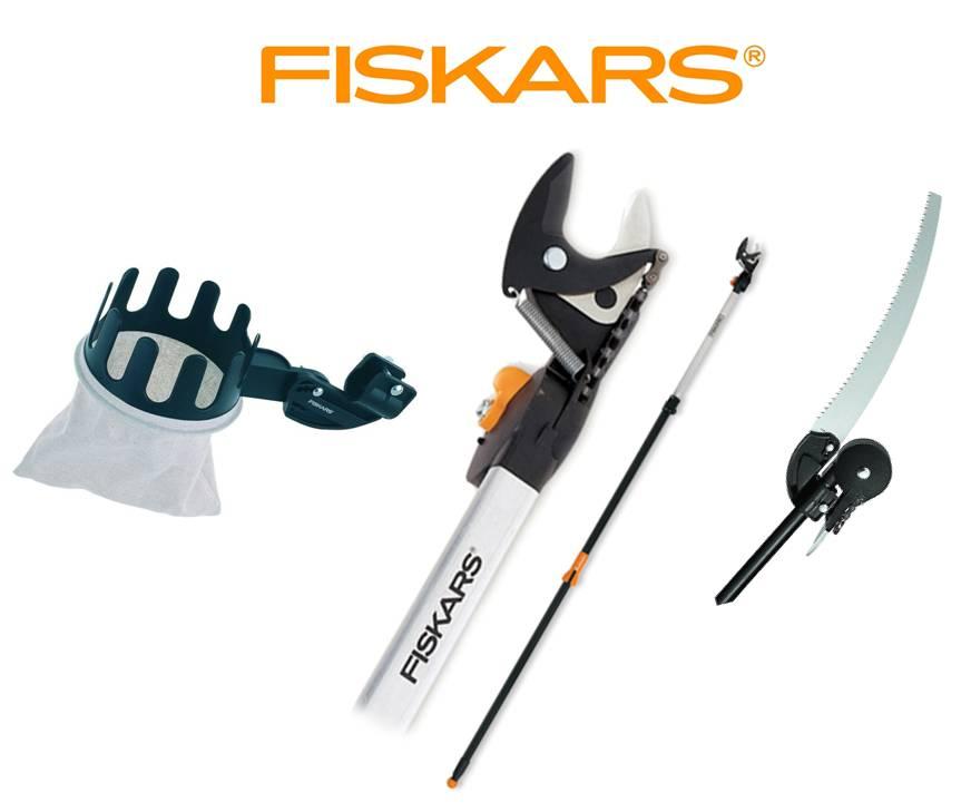 Fiskars Nůžky zahradní housenice 6,5 m s pilkou a česáčkem na ovoce, SET Fiskars 115560+10950+110970