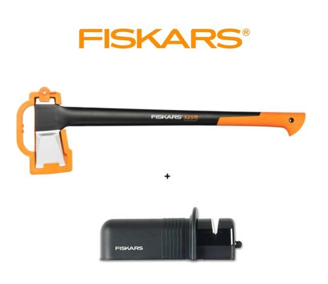 FISKARS 1015643 Sekera štípací X25 - XL + ostřič Solid - SET Fiskars 122483 a 120005