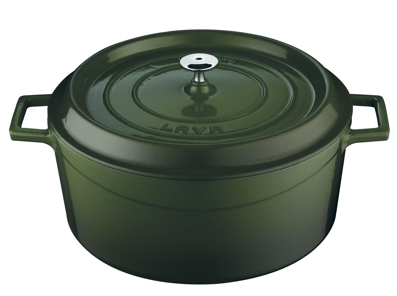 LAVA Metal Hrnec litinový kulatý, zelený, obsah 2,6 l, Ø 20 cm LAVA Metal