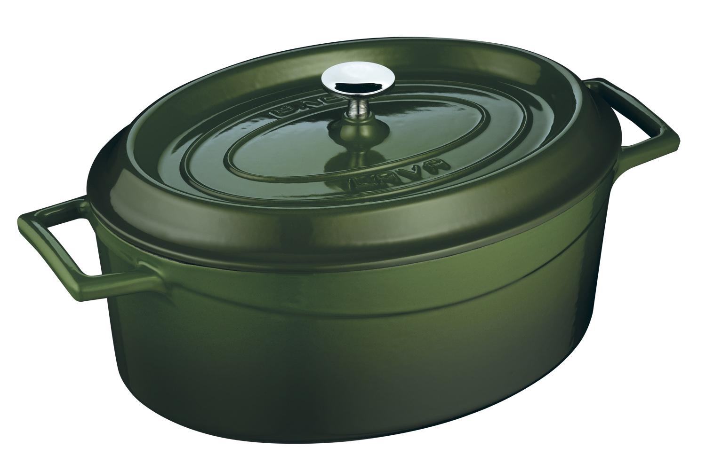 LAVA Metal Oválný litinový hrnec, zelený, obsah 4,8 l, Ø 29 cm LAVA Metal