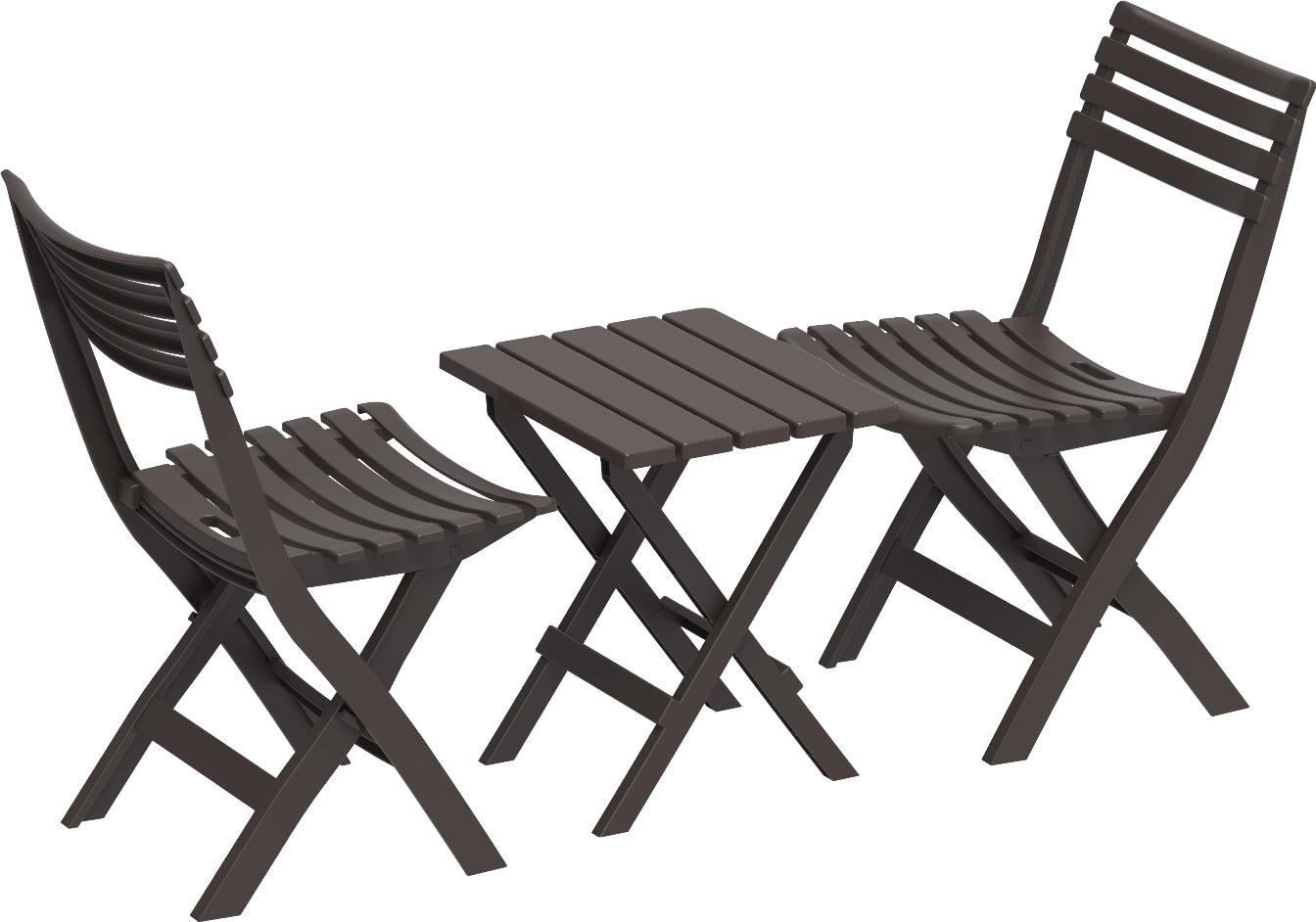 DURAMAX Skládací plastový balkónový nábytek 2+1, hnědý, Duramax IDMOFXX081BR
