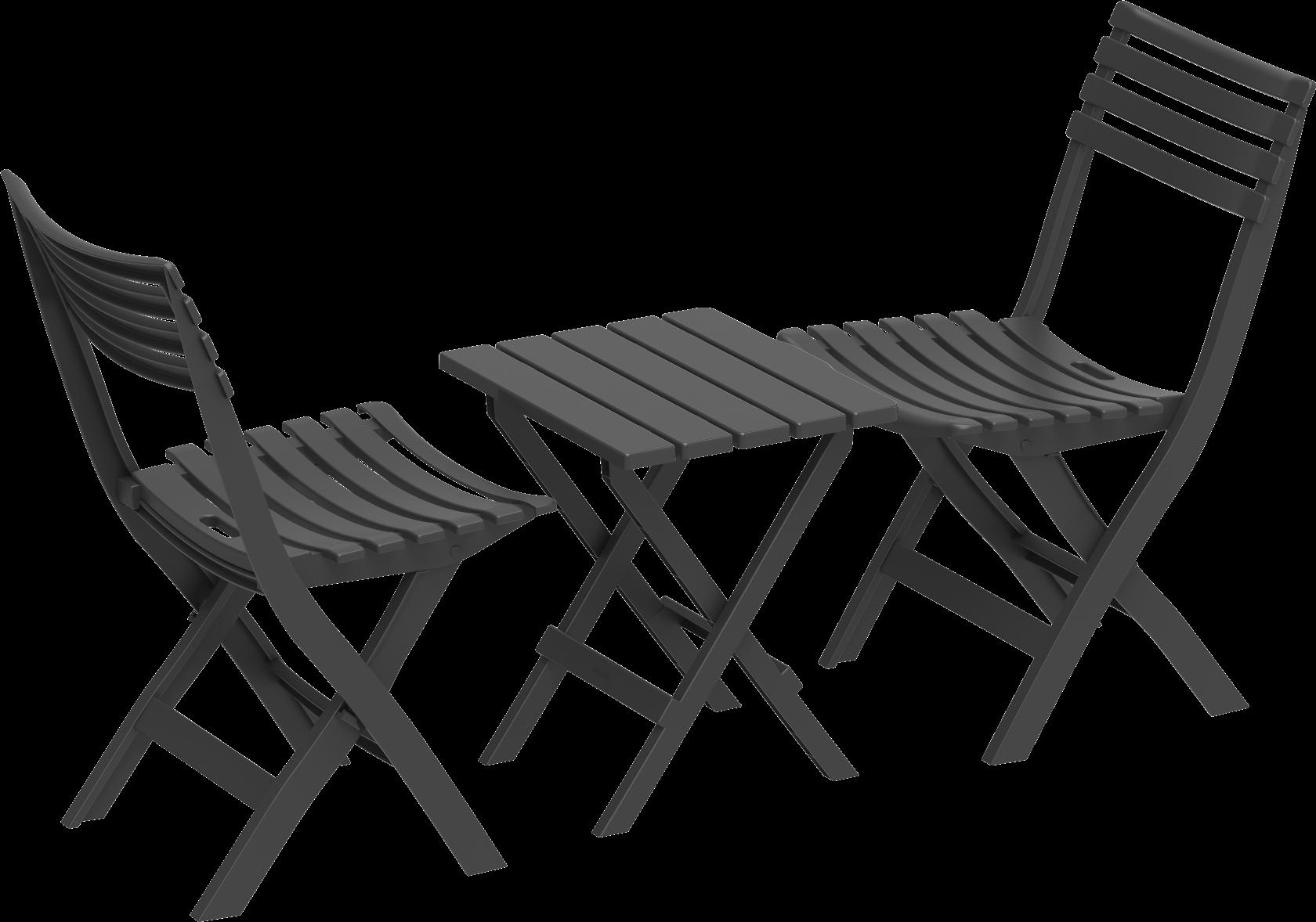 DURAMAX Skládací plastový balkónový nábytek 2+1, antracit, Duramax IDMOFXX081GY