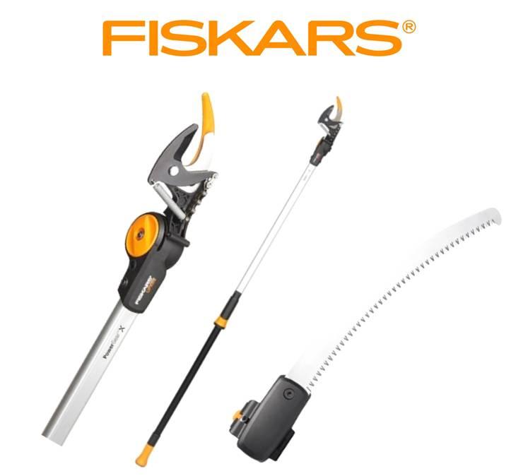 FISKARS Nůžky PowerGearX zahradní univerzální UPX82 Fiskars 1023625 + prořezávací pilka Fiskars 1023633