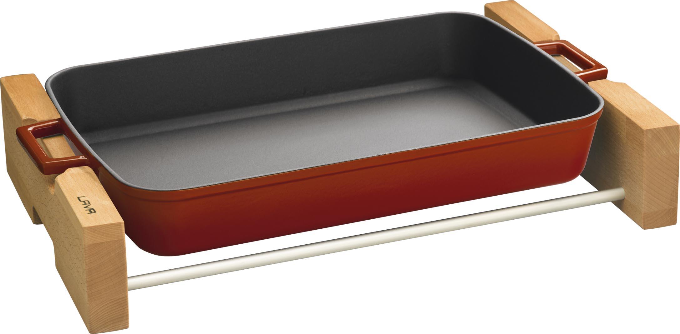 LAVA Metal Pekáč litinový se servírovacím podstavcem 26 x 40 cm červený LAVA Metal