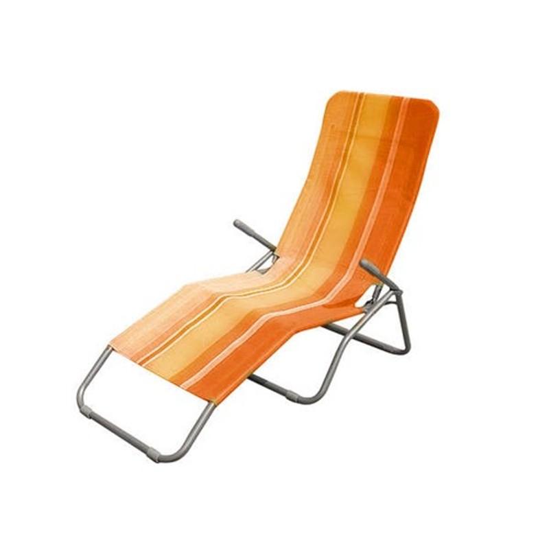 Happy Green 50F2031OS oranžový pruh - Relaxační plážové lehátko