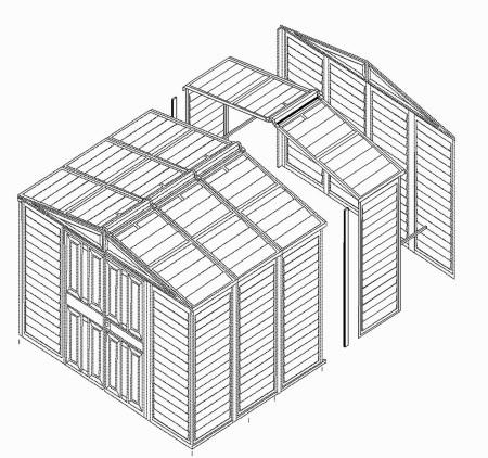 DURAMAX Prodlužovací modul pro domek Duramax Titan - imitace dřeva