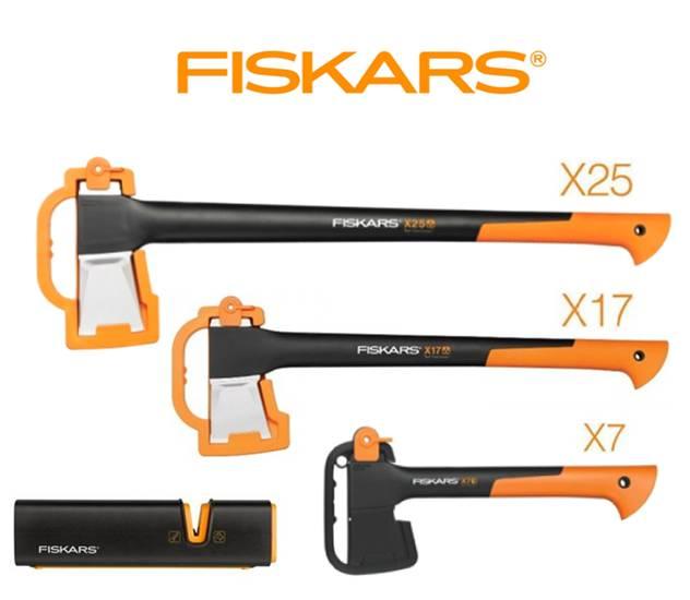 FISKARS 1015643 Sekera štípací X25 - XL + sekera X17 + sekera X7 + ostřič - SET Fiskars 1015643 a 122463 a 121423 a 120740
