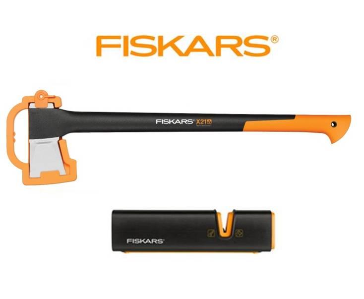 FISKARS 1015642 Štípací sekera X21 + ostřič XSharp - SET Fiskars 1015642 a 120740