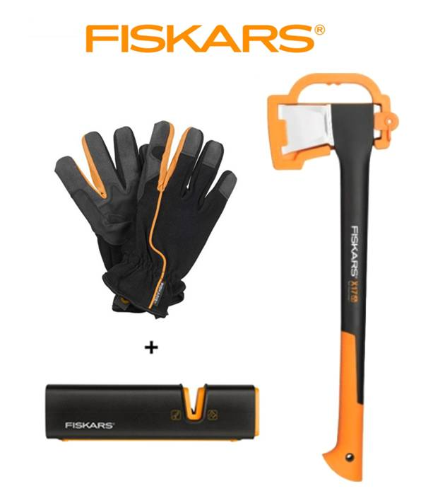 FISKARS Sekera FISKARS štípací X17 - M 122463 + ostřič Xsharp + rukavice - Set Fiskars 122463 a 120740 a 160004