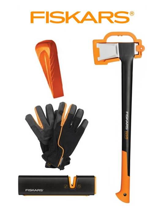 FISKARS 1015643 Sekera štípací X25 - XL + klín + ostřič + rukavice - SET Fiskars 1015643 a 120020 a 120740 a 160004