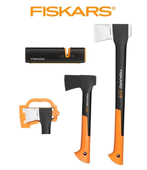 FISKARS Sekera FISKARS štípací X17 - M 122463 + sekera X7 + ostřič - SET Fiskars 122463 a 121423 a 120740