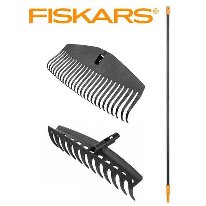 FISKARS SET Hrábě univerzální + hrábě na listí široké + násada Fiskars Solid