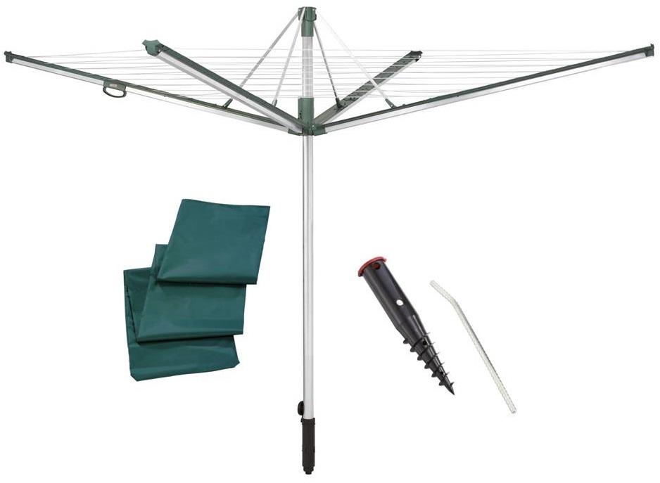 LEIFHEIT Zahradní sušák na prádlo LINOMATIC Plus 500 + Ukotvovací držák + Ochranný obal LEIFHEIT set 85110+85606+85632