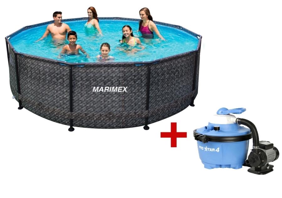 MARIMEX SET Bazén Florida 3,66x0,99 m RATAN Marimex 10340213 s pískovou filtrací a příslušenstvím