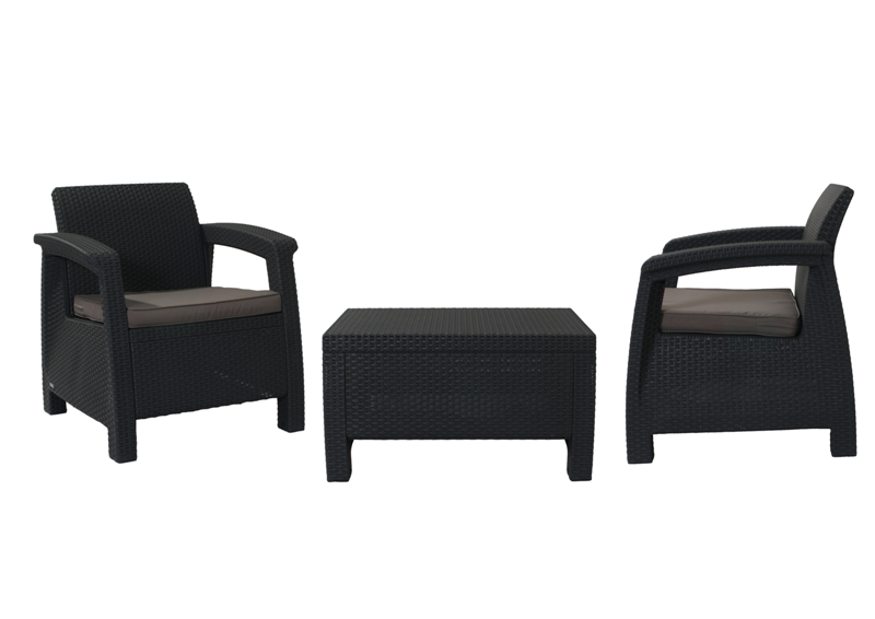KETER Balkónový set nábytku CORFU II grey + anthracite KETER 206623