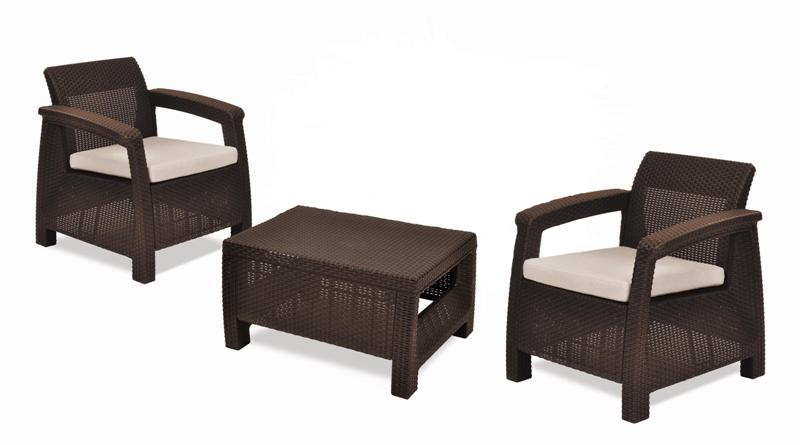 KETER Balkónový set nábytku CORFU II brown + beige KETER 206636