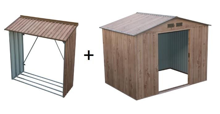 DURAMAX Zahradní domek Duramax TITAN 4,7 m2 + přístřešek na dřevo WOOD STORE dekor dub