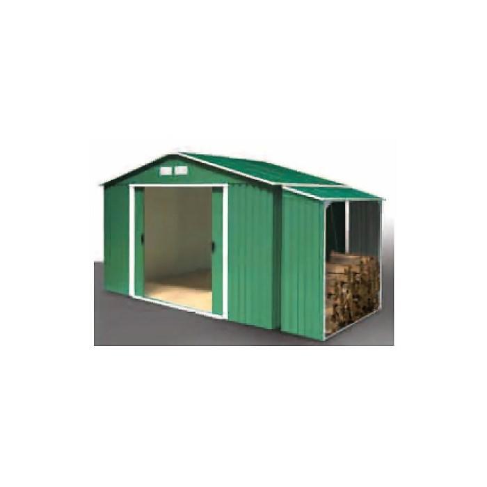 DURAMAX Zahradní domek Duramax TITAN 4,7 m2 + přístřešek na dřevo WOOD STORE zelený