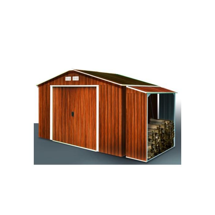 DURAMAX Zahradní domek Duramax TITAN 4,7 m2 + přístřešek na dřevo WOOD STORE imitace dřeva