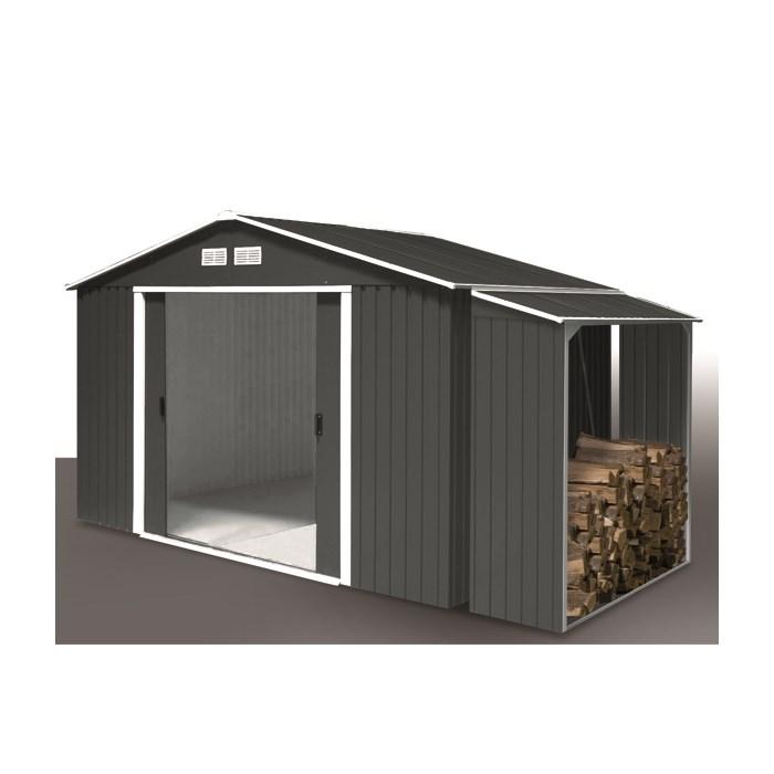 DURAMAX Zahradní domek Duramax TITAN 4,7 m2 + přístřešek na dřevo WOOD STORE antracit